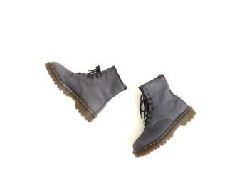 Dr Martens Boot Soft Grunge Doc Martens Aesthetic Shoe Doc Martins Minimalist Combat Boot Grey Suede Ankle Boot Women US 5, EU 35.5-36, UK 3