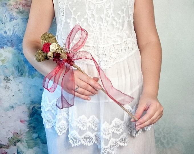 Flowergirl wand burgundy rustic wedding ivory gold sola flower dried limonium hay Flower girl Bridesmaids chiffon ribbon autumn winter fall