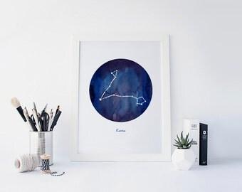 Pisces Sun Sign, Zodiac Sign, Zodiac Constellations Watercolor, Horoscope Art, Astrology Art, Astrological Sign, Sun Sign Gift, Printable