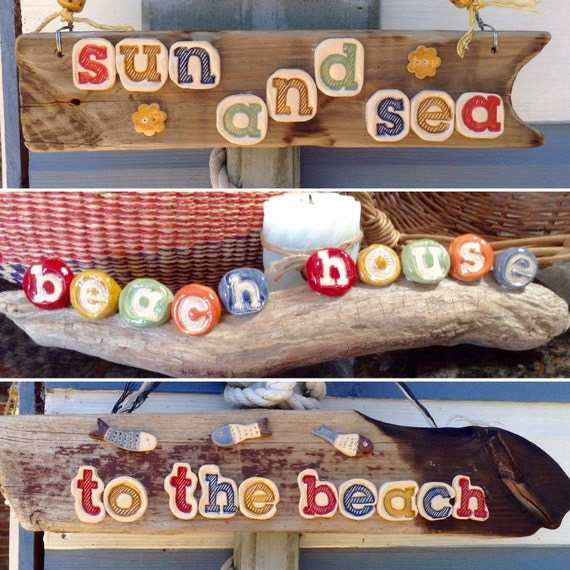 Driftwood and Ceramic signs