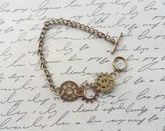 Steampunk Gear Bracelet, Cogs and Gears, Steampunk Jewelry, Bronze Bracelet, Steampunk Bracelet, Gear Bracelet, Handmade Jewelry