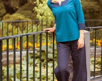 SALE -50%! Blue Guava - a light cotton blouse for the summer - fair-trade