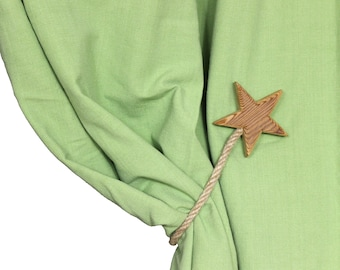 "Set of 2 magnetic curtain holdbacks ""STAR"""