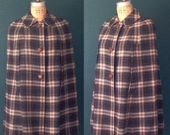 Cape-Plaid cape- Plaid coat- Blue coat- Large coat- Vintage coat- 1960s coat- Womens outerwear- 60s coat- Plaid jacket- Wool cape- Wool coat