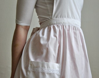 White Romantic Apron with Lace