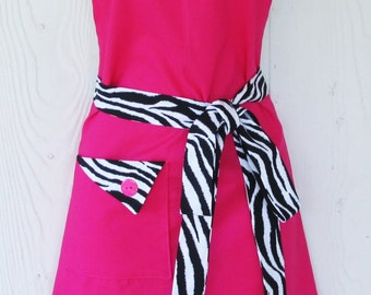 Pink Zebra Print Apron, Pink and Black Apron, Animal Print, Womens Full Apron, Retro Apron, KitschNStyle