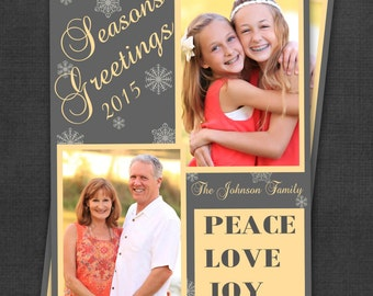 Christmas Card - Photo Holiday 5x7 Digital Printable Card - Season's Greetings - Peace Love Joy