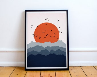 Abstract Landscape Print, Modern Wall Art, Blue Orange Art, Mountain Art, Mid Century Modern, Mid Century Art Print, Modern Wall Art
