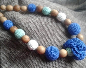 Nursing Teething necklace.Crochet necklace.Blue necklace.Mint.Organic cotton.Teething necklace.Brestfeeding.Jewelry Natural.Nursing.