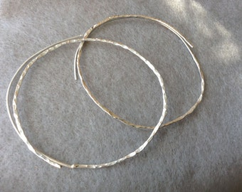 Silver Hoops, Sterling Silver, Slide On Hoops, Large Silver Hoops,  2 3/4 Inch Hoops, Textured Hoops, Big Silver Hoops, Secure Thread On
