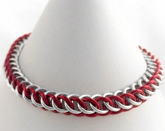 Half Persian Chainmaille Bracelet - Red and Silver Anodised Aluminium