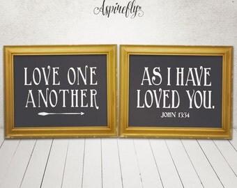 Scripture Printable Bible Verse Art Inspirational Quote Print Wall Art love one another Decor Poster Typography Digital John 13:34 arrow art