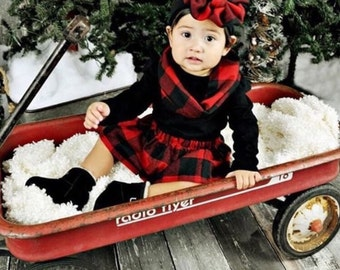 Buffalo Plaid Flannel outfit (options for skirt, bows & scarf)