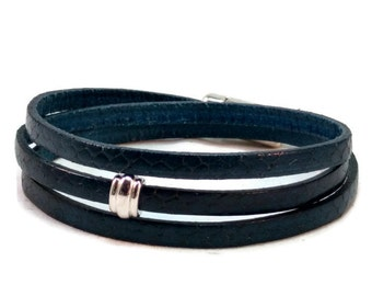 Womens leather bracelet - flat leather bracelet - wrap bracelet - blue bracelet - multi strand bracelet - womens bracelet - magnetic clasp