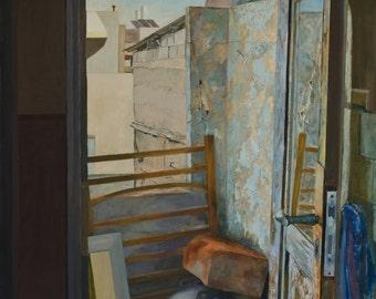 Urban landscape, Tel Aviv Rooftops, oil on canvas, original oil painting, city of Tel Aviv, art painting  110X70 cm