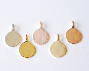 Vermeil Gold Round Blank Disc Charm with Attached Bail -18k gold plated over sterling silver,blank disc, Gold stamping disc, Rose Gold disc