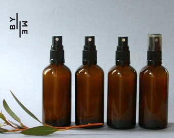 100ml Amber Glass Spray bottles with black fine mist sprayer (4 pack)