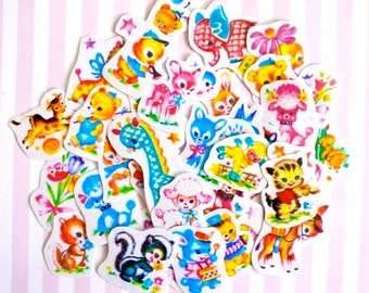 Vintage Kitsch Style Animal Parade Paper Stickers (Pack of 43pcs)