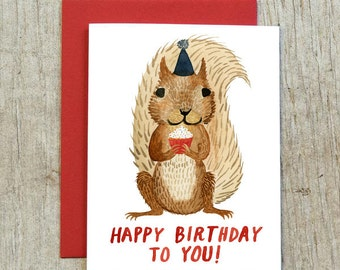 Squirrel Birthday Card, Watercolor Card by Little Truths Studio