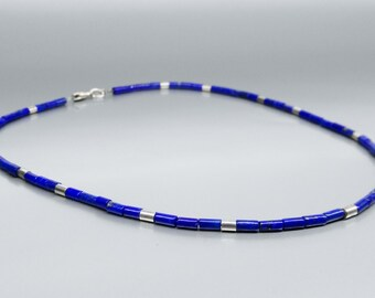 Lapis Lazuli and Sterling silver necklace - natural genuine Lapis Lazuli jewelry -blue and silver necklace-Statement Necklace-Christmas gift