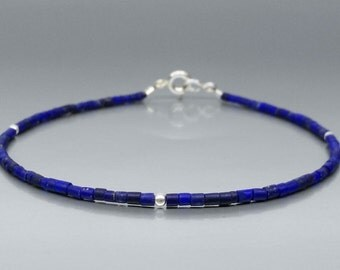 Fine bracelet with tiny Lapis Lazuli tubes and Sterling silver - gift idea Christmas - modern friendship bracelet -high quality afghan Lapis