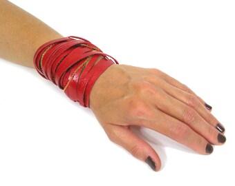 Leather Wrap Bracelet-Red Wrap Bracelet-Wrap Bracelet Red-Leather Bracelet In RED-RED Color Bracelet-Fire Red Bracelet-Strap Bracelet