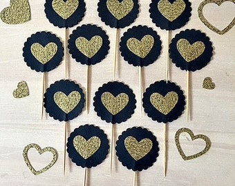 Black and Gold Cupcake Toppers - Set of 12 - Engagement, Wedding, Bachelorette, Great Gatspy, Anniversary, Chic, Classic,Glitter, Party!!!