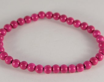 Bright Hot Pink Bracelet Stretch Beaded Bracelet For Little Girl Summer Beach