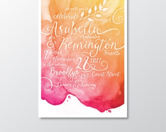 Watercolor Invitation Set . White Calligraphy & Nautical Gold Magenta Pink Orange Coral Sunset Beach Watercolor Wedding . PRINTED 3-card Set