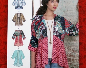 Simplicity 8172 Easy Sewing Pattern, Kimono Jackets, Hi Lo Top, Sizes Xxs Xs S M L xL XxL, Fall Winter Sportswear, DIY Boho Chic Gift, UNCUT