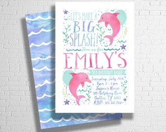 Dolphin Birthday Invitation | Ocean Birthday Invitation | Under The Sea Invitation | Pool Party Birthday Invitation | DIGITAL FILE ONLY