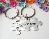 Long Distance Relationship, Couple Keychains, Pesonalized Keychains, Puzzle Piece Keychains, Boyfriend Gift, Long Distance Anniversary Gift