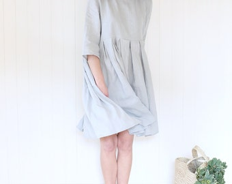 Comfy Linen Dress / Summer Linen / Wide Linen Dress / 3/4 Sleeves Linen Dress / Pleated Linen Dress