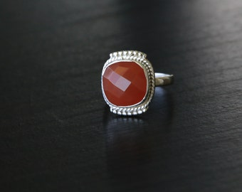 Carnelian Ring Cushion Faceted , Carnelian Ring, Silver ring, US 7, Cut stone ring, Faceted Carnelien