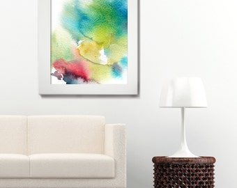 Abstract Watercolor Print, Watercolor Painting Art Print, Modern Wall Art, Turquoise, Red , Yellow Home Decor