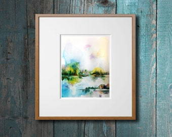 Abstract Landscape Watercolor Print, Watercolor Painting Art Print, Summer Landscape, Nature Painting