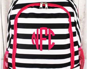 "Personalized, Monogramed, Black Stripes w/ Pink Trim, Backpack, Full Size 17"","
