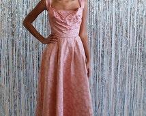 La Joelle - 1950s antique rose structured ball gown