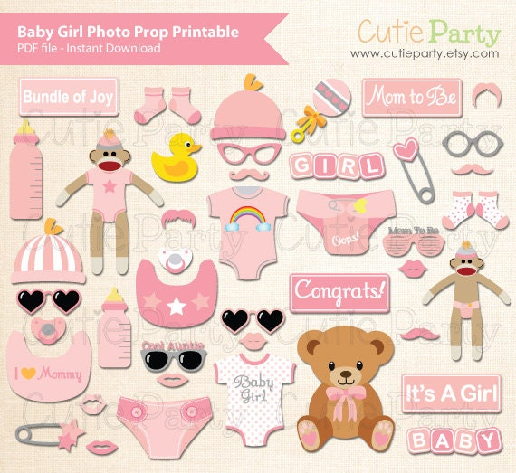 girl baby shower photo booth prop baby shower photo booth