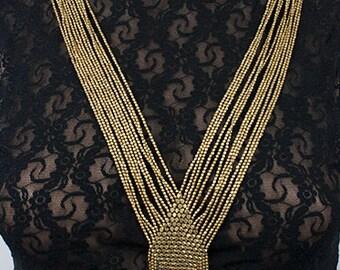 Tribal Ethnic Boho beaded brass necklace (0019)