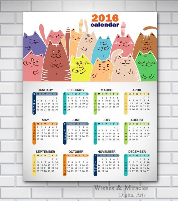 Items similar to 2016 Printable Calendar, 2016 Cat Art Calendar ...