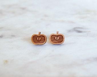 Wooden Apple Earrings - Stud Earrings - Fruit Earrings - Lasercut - Wood Earrings.