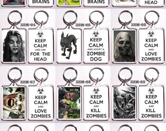 Keep Calm Zombie Themed Keychain Key Ring - Many Designs To Choose From