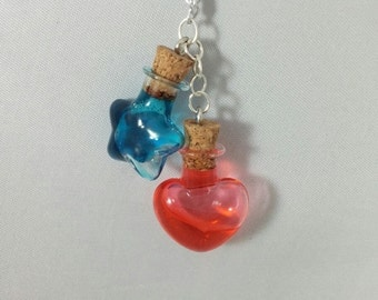 RPG/Video Game Inspired Health and Mana Potion Bottle Necklaces - Heart and Star Shapes
