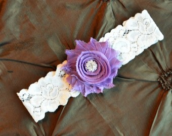 Wedding Garter, Bridal Garter, Ivory Lace Garter, Toss Garter, Purple Garter, Shabby Chiffon Grape, Grape Garter, Wedding Garter Belt