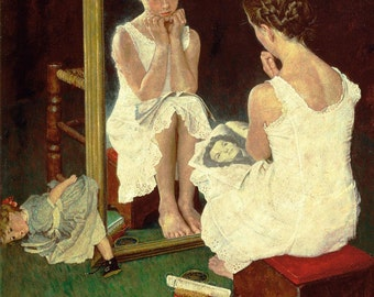 20x24 Norman Rockwell Girl at the Mirror Luster Print Saturday Evening Post