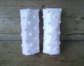 White Minky Infant/Toddler Car Seat Strap Covers - Reversible