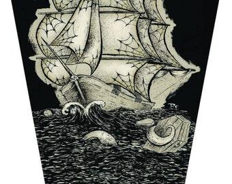 COFFIN SEAS Coffin Shaped Canvas Print 36 X 17 Inches