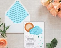 Sea Glass Handmade Thinking of You Card with Original Poem and Sea Glass {SP1601}