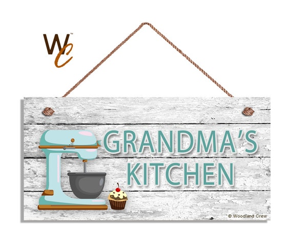 Kitchen Signs For Sale: ON SALE Grandma's Kitchen Sign Retro Blue Mixer And